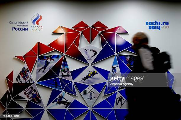 Logo of the Russian Olympic Committee is seen during a session to discuss the IOC decision to suspend the Russian Olympic Committee and let Russian...