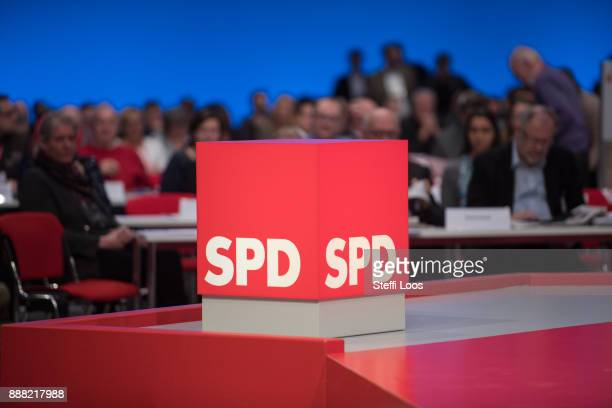 Logo of the Social Democratic Party Lars Klingbeil at the SPD federal party congress on December 8 2017 in Berlin Germany SPD delegates are meeting...