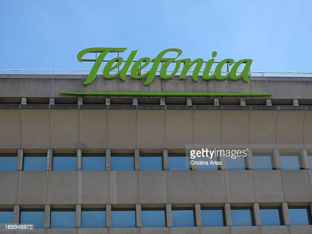 Logo of the Spanish telecommunications company Telefonica in an office building in Madrid, Spain.