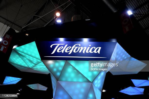 L´HOSPITALET CATALONIA SPAIN Logo of the Spanish telephone brand Telefonica seen during the Mobile World Congress 2019 in Barcelona