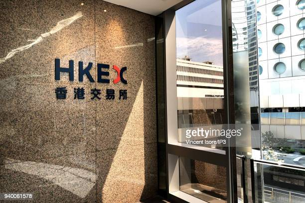 Logo of the stock exchange at the entrance of the building on February 27 2018 in HongKong China HongKong is the third largest financial centre in...