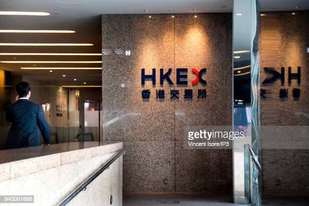 Logo of the stock exchange at the entrance of the building on March 01 2018 in HongKong China HongKong is the third largest financial centre in the...