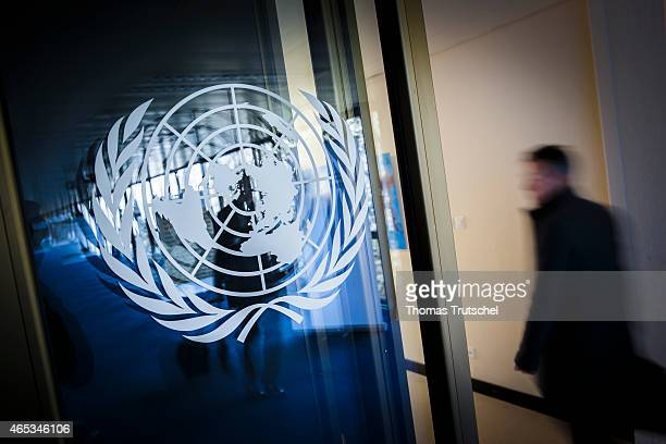 Logo of the United Nations at the Palace of Nations on March 03 2015 in Geneva Switzerland The Palace of Nations in the European headquarters of the...