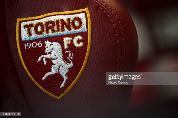 Logo of Torino FC in pictured during a press conference on the eve of the UEFA Europa League playoff round football match between Torino FC and...