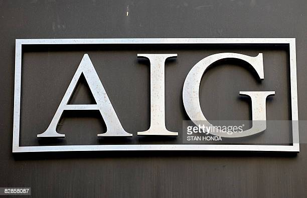 Logo of troubled insurer American International Group Inc September 17 2008 outside their office in the lower Manhattan area of New York The US...