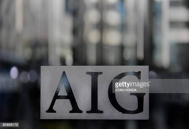 Logo of troubled insurer American International Group Inc September 17 2008 on a window at their office in the lower Manhattan area of New YorkThe US...