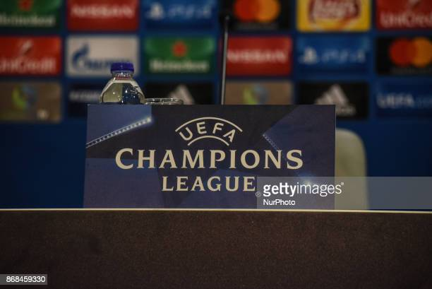 Logo of UEFA before the training and Press Conference of FC Barcelona in Piraeus for the UEFA Champions League match gainst Olympiakos Piraeus in...