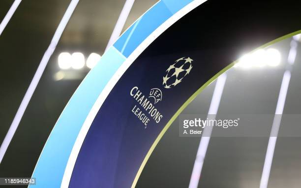 A logo of UEFA Champions League is pictured before the UEFA Champions League group B match between Bayern Muenchen and Olympiacos FC at Allianz Arena...