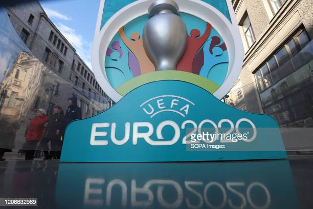 Logo of UEFA Euro 2020 at a countdown clock to the tournament