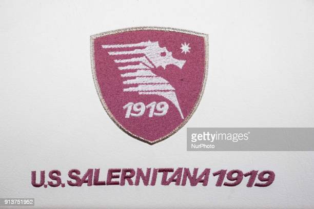 Logo of US Salernitana during Italy Serie B match between US Salernitana and Carpi FC at Stadium Arechi in Salerno Italy on 2 February 2018