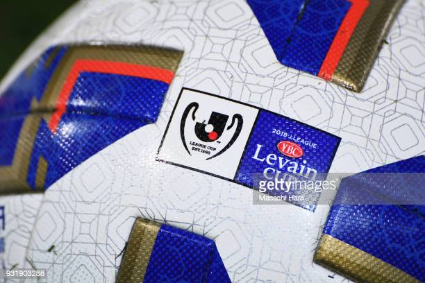 Logo of YBC Levain Cup is printed on the official ball prior to the JLeague YBC Levain Cup Group A match between FC Tokyo and Albirex Niigata at...