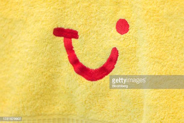 Logo on a beach towel inside a closed TUI travel center in Mainz, Germany, on Wednesday, March 10, 2021. Voters go to the polls on for state...