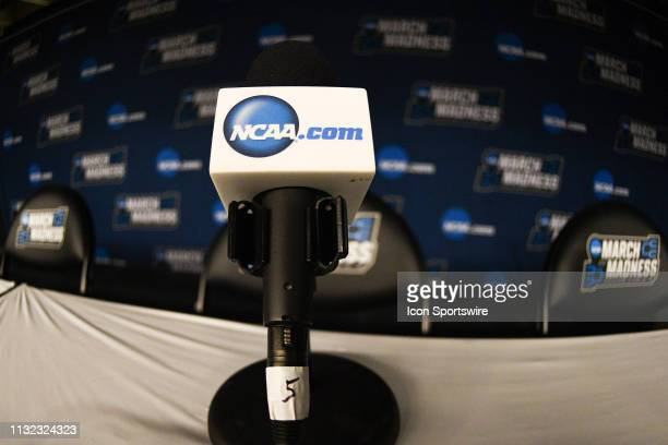 NCAA logo on a microphone before the game between the Kansas State Wildcats and the UC Irvine Anteaters in their NCAA Division I Men's Basketball...