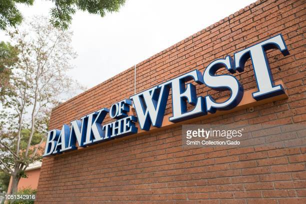 Logo on brick facade of Bank of the West branch now a division of BNP Paribas in downtown Livermore California October 3 2018