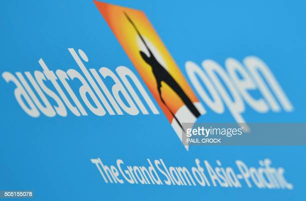 Logo on display ahead of the 2016 Australian Open tennis tournament in Melbourne on January 16 2016 AFP PHOTO / PAUL CROCK IMAGE RESTRICTED TO...