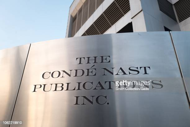 Logo on sign at regional office of Conde Nast publications in downtown Los Angeles California October 24 2018