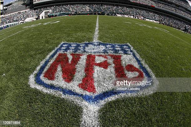 NFL logo on the field before the game The New York Giants defeated the Philadelphia Eagles 30 to 24 in overtime at Lincoln Financial Field in...