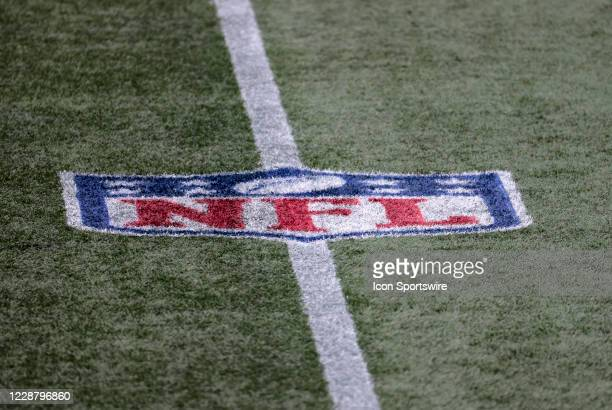 NFL logo on the field during a game between the New England Patriots and the Las Vegas Raiders on September 27 at Gillette Stadium in Foxborough...