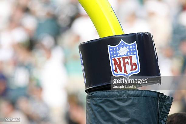 NFL Logo on the goal post The New York Giants defeated the Philadelphia Eagles 30 to 24 in overtime at Lincoln Financial Field in Philadelphia on...