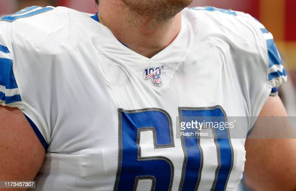 NFL 100 logo on the jersey of Graham Glasgow of the Detroit Lions during the first half of the NFL football game against the Arizona Cardinals at...