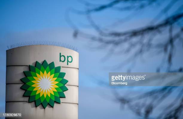 Logo on totem sign at a BP Plc petrol station on the side of the North Circular road in London, U.K., on Tuesday, Feb. 2, 2021. BP Plc showed that...
