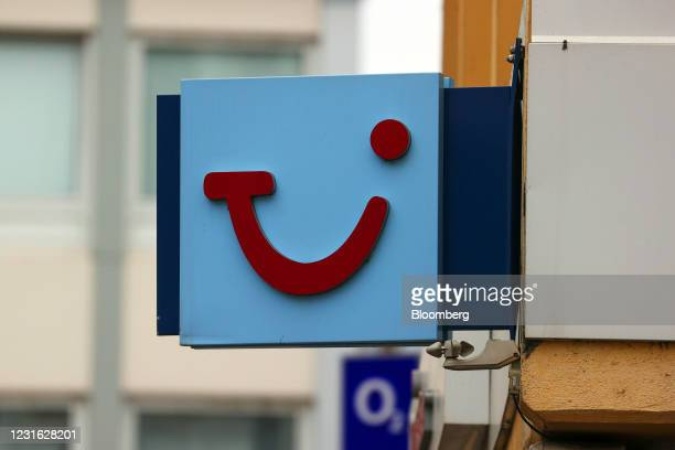 Logo outside a closed TUI AG travel center in Mainz, Germany, on Wednesday, March 10, 2021. Voters go to the polls on for state elections in...