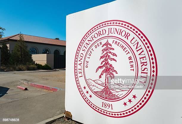 Logo printed on a fence blocking off a construction site on the campus of Stanford University in the Silicon Valley town of Palo Alto California...