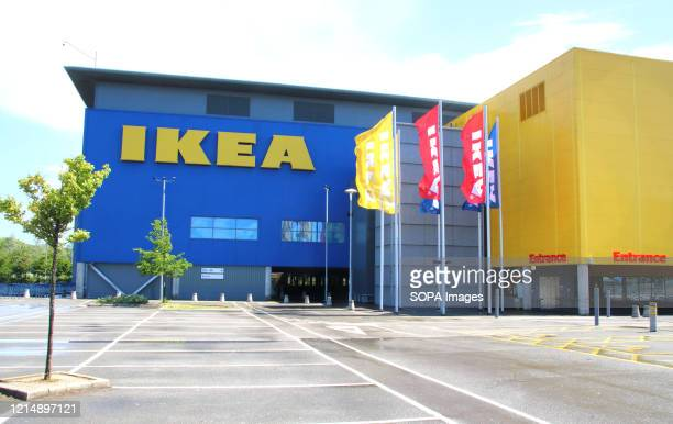 Logo seen at one of their stores. Furniture giant Ikea announced that they will re-open 19 of its stores across England and Northern Ireland on 1...