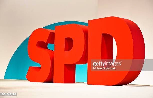 SPD Logo seen at SPD party convention on December 12 2015 in Berlin Germany