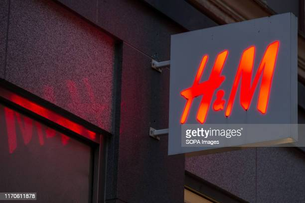 Logo seen in Gothenburg. Hennes & Mauritz AB is a Swedish multinational clothing-retail company.
