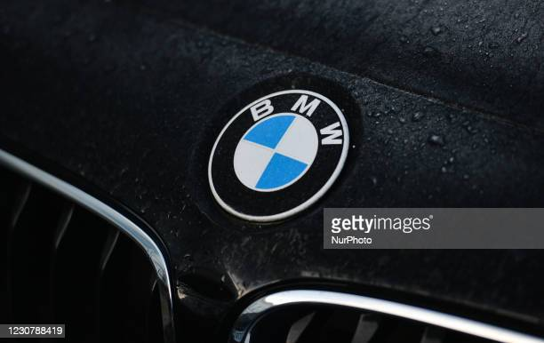 Logo seen on a parked car in Dublin city center. On Monday, January 25 in Dublin, Ireland.