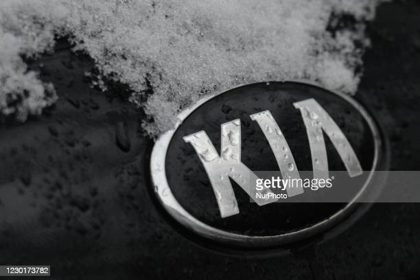 Logo seen on a parked car in Krakow city center. On Thursday, December 10 in Krakow, Poland.