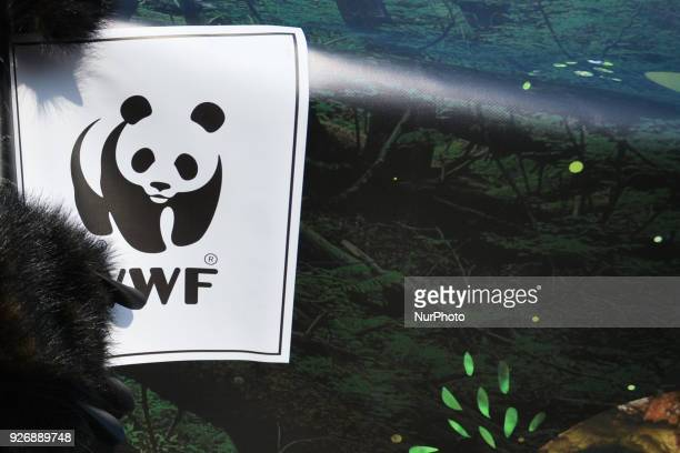 A WWF logo seen on a poster during a protest as people dressed as a forest animals gathered on Krakow's Main Square during 'Save the Heart of the...