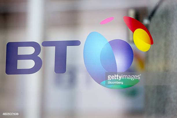 A BT logo seen on a window outside the headquarters of BT Group Plc in London UK on Monday Dec 15 2014 BT started exclusive talks to acquire Deutsche...