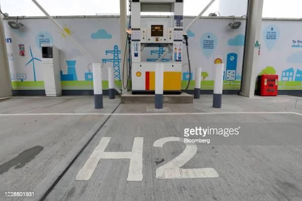 Logo sits at a hydrogen charging pump at a Royal Dutch Shell Plc petrol filling station in Cobham, U.K., on Wednesday, Sept. 30, 2020. Royal Dutch...