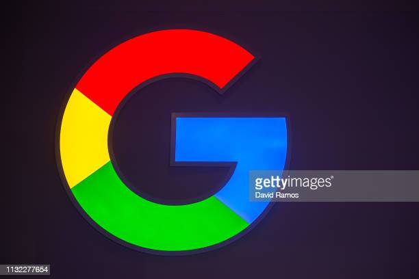 A logo sits illumintated outside the Google booth on day 2 of the GSMA Mobile World Congress 2019 on February 26 2019 in Barcelona Spain The annual...