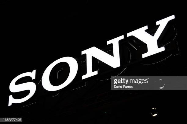 Logo sits illumintated outside the Sony booth on day 2 of the GSMA Mobile World Congress 2019 on February 26, 2019 in Barcelona, Spain. The annual...