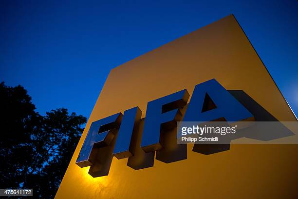 FIFA logo sits on a sign at the FIFA headquarters on June 2 2015 in Zurich Switzerland Joseph S Blatter resigned as president of FIFA The 79yearold...