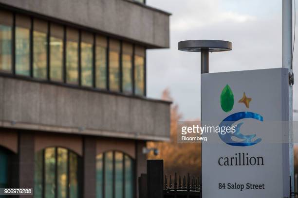 A logo sits on a sign outside the Carillion Plc headquarter offices in Wolverhampton UK on Thursday Jan 18 2018 The Wolverhampton central...