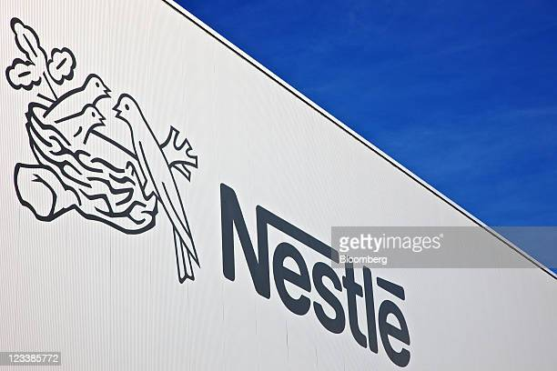 A logo sits on display at Nestle SA's new production unit for probiotic infant formulas in Konolfingen Switzerland on Thursday Sept 1 2011 Nestle SA...