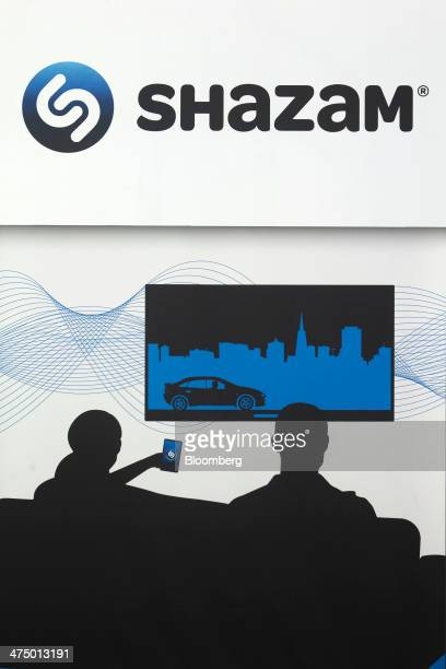 A logo sits on display at the Shazam Entertainment Ltd pavilion on day three of the Mobile World Congress in Barcelona Spain on Wednesday Feb 26 2014...