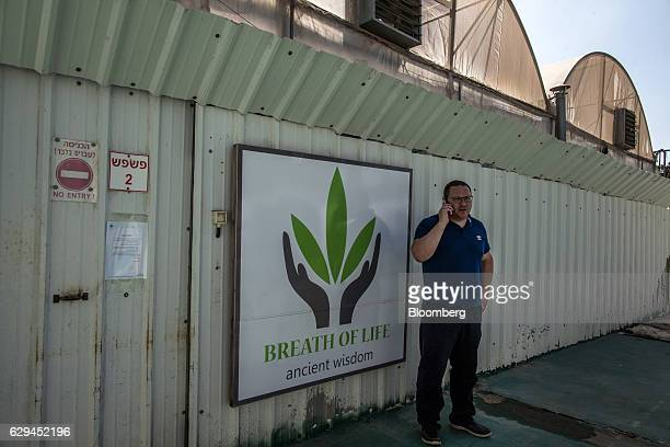A logo sits on display on the security fence surrounding the cannabis facility operated by Breath of Life in Kfar Pines Israel on Wednesday Sept 21...