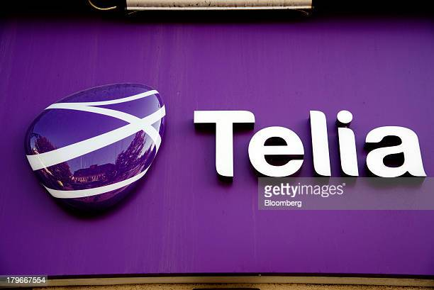 A logo sits on display outside a TeliaSonera AB telecommunications store in Gothenburg Sweden on Friday Sept 6 2013 Scandinavia's biggest banks have...