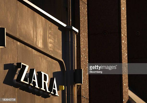 A logo sits on display outside a Zara fashion store operated by Inditex SA in Dusseldorf Germany on Tuesday Oct 1 2013 The Bundesbank said last month...