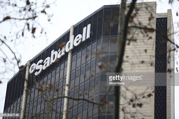 Logo sits on display outside the headquarters of Banco de Sabadell SA bank in Barcelona, Spain, on Friday, Jan. 27, 2016. Banco de Sabadell SA, the...