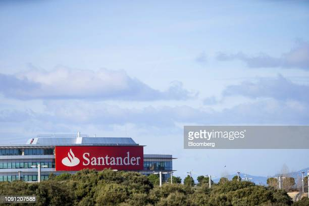 A logo sits on display outside the headquarters of Banco Santander SA in Boadilla del Monte Spain on Wednesday Jan 30 2019 Were very very focused on...