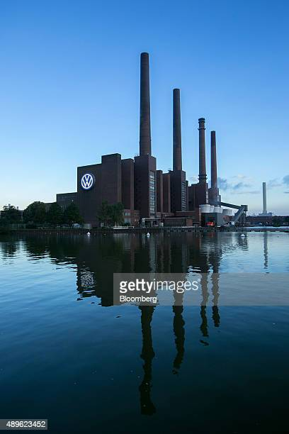 A VW logo sits on display outside the power plant at the Volkswagen AG headquarters in Wolfsburg Germany on Wednesday Sept 23 2015 Volkswagen's...
