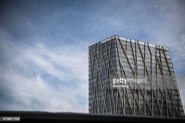A logo sits on display outside the TelefonicaDiagonal Zero tower offices of Telefonica SA in Barcelona Spain on Thursday Feb 20 2014 A smart city...