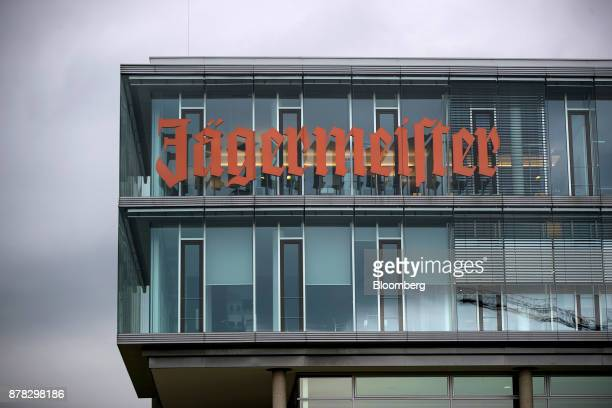 A logo sits on the offices near the MastJaegermeister SE fruit liquor bottling plant in WolfenbuettelLinden Germany on Wednesday Oct 11 2017 German...