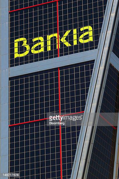 A logo sits on the outside of the Kio towers headquarters of Bankia SA in Madrid Spain on Thursday May 24 2012 Bankia SA the listed unit of BFA...